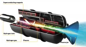 Vue d'artiste d'un propulseur magnéto-plasmique Crédit: Daniel Schumpert/Jason Briney