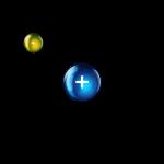 Atome d'Hydrogène. Un électron gravitant autour d'un proton. Crédits: C.P. Rigel