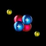 Atome d'Hélium. Deux électrons gravitant autour de deux couples proton-neutron. Crédits: C.P. Rigel