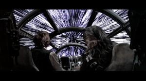 Han Solo et son compagnon Chewbacca franchissant l'hyperespace à bord du Faucon Millenium (Star Wars)