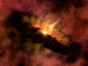 Vue d'artiste d'une proto-étoile et de son nuage. Crédits: NASA