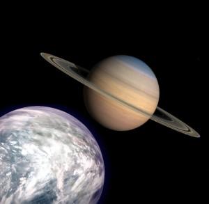Vue d'artiste de Titan terraformée Crédits: C.P. Rigel / Falc0nB13