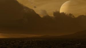 Vue d'artiste de la surface de Titan Crédits: Dirk Terrell
