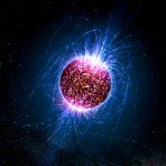 Vue d'artiste d'une étoile à neutron et de ses champs magnétiques. (Crédit: Casey Reed - Penn State University)