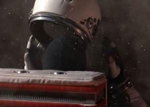 Woodrow Blake enlève son casque dans l'espace (Mission to Mars)