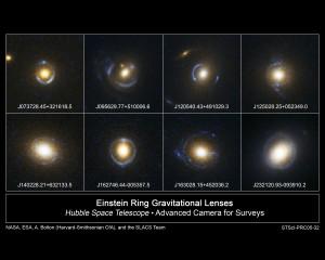 Exemples d'anneaux d'Einstein photographiés par le télescope spatial Hubble.