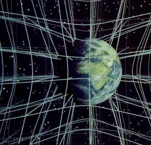 Déformation de l'espace-temps par une masse. (Crédits: Chris Bon)
