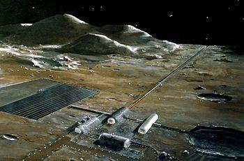 Vue d'artiste d'une catapulte électromagnétique lunaire.
