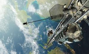 Vue d'artiste de ce à quoi pourrait ressembler un ascenseur spatial. (Crédit: Mondoart.net)