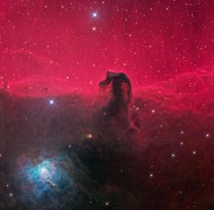 La nébuleuse de la tête de cheval, dans la constellation d'Orion, est un gigantesque nuage d'hydrogène. (Crédit: Ken Crawford, Rancho Del Sol Observatory)