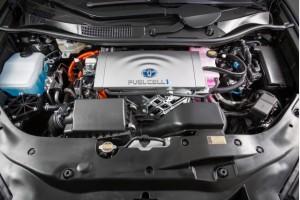 Compartiment moteur de la Toyota Mirai, abritant une pile à combustible.