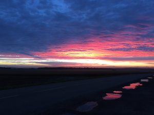 Couché de soleil sur le pays haut mosellan. Crédits: C.P. Rigel