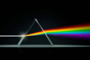 Rayon de lumière blanche traversant un prisme. (Crédits: DK Findout)