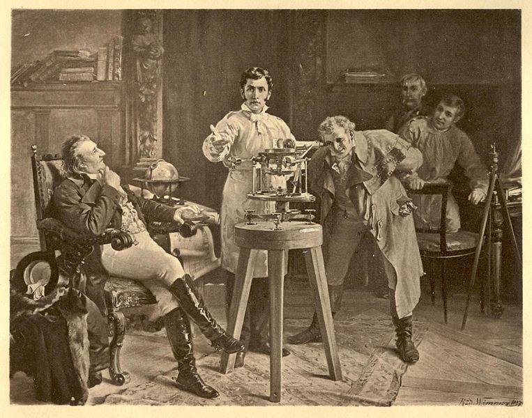 Joseph von Fraunhofer faisant une démonstration du spectroscope. Photogravure basée sur une peinture de Richard Wimmer.